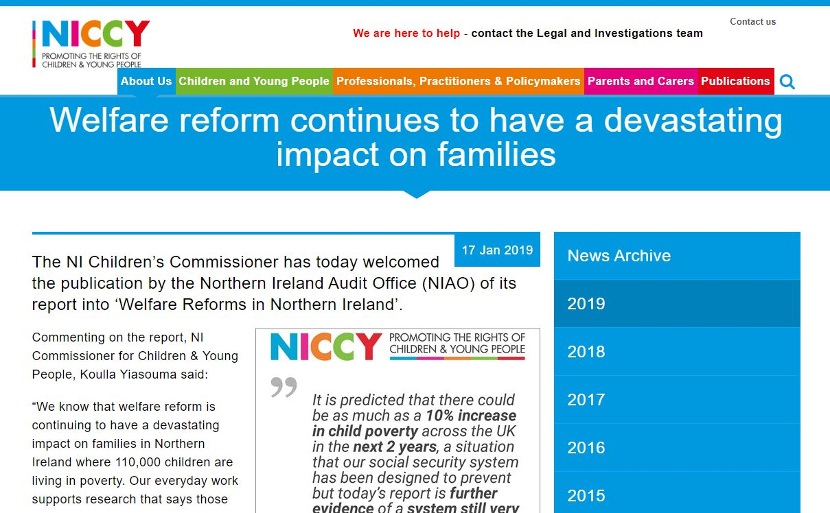 Image of Commissioner's statement on Welfare Reforms in Northern Ireland Report