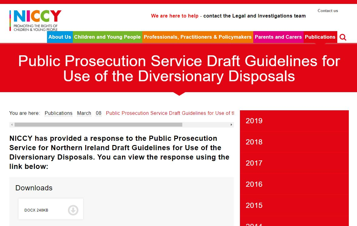 Image of Public Prosecution Service Draft Guidelines for Use of the Diversionary Disposals