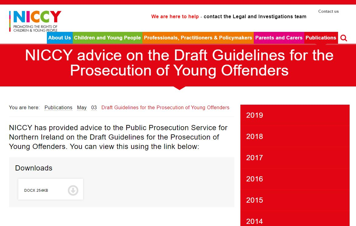 Image of Draft Guidelines for the Prosecution of Young Offenders