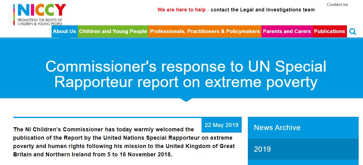 Image of Commissioner's response to UN Special Rapporteur Report on extreme poverty and human rights