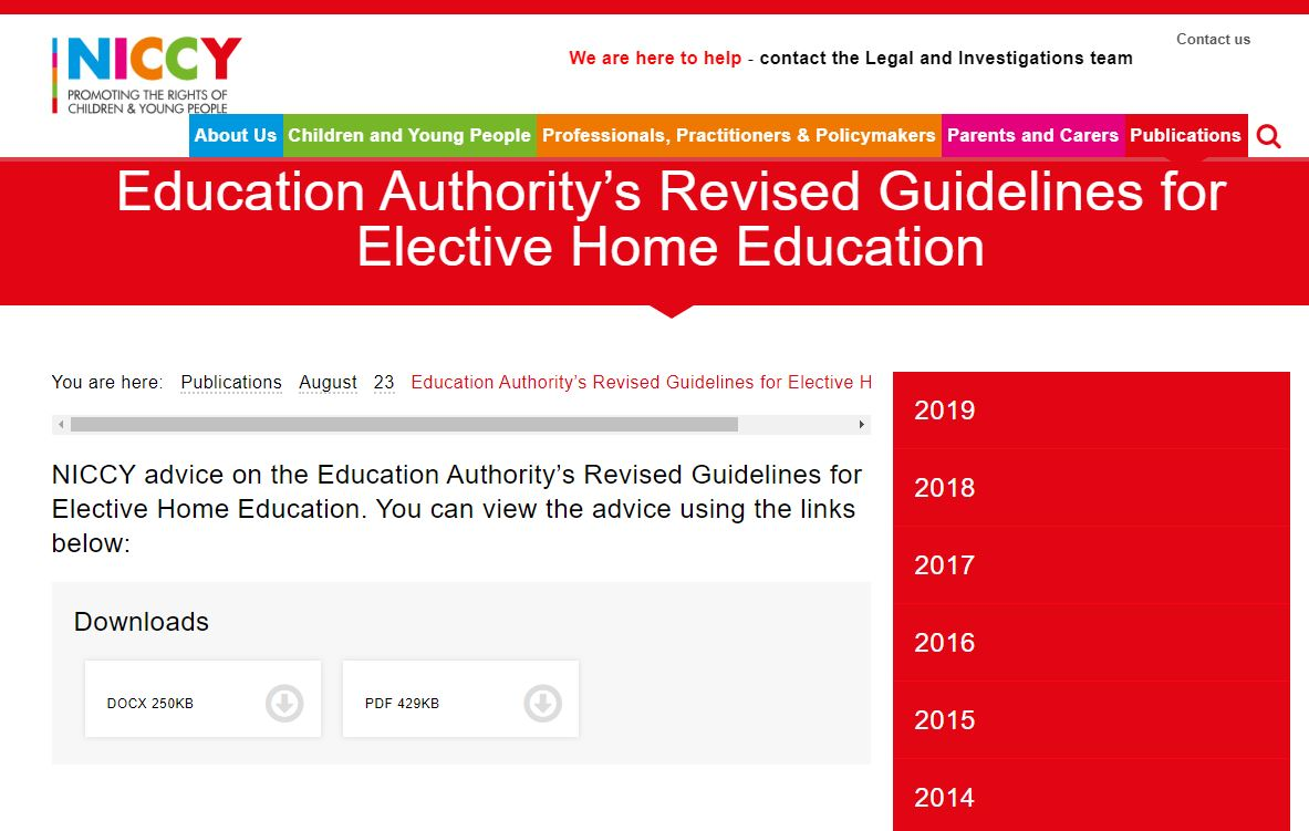 Image of Education Authority's Revised Guidelines for Elective Home Education