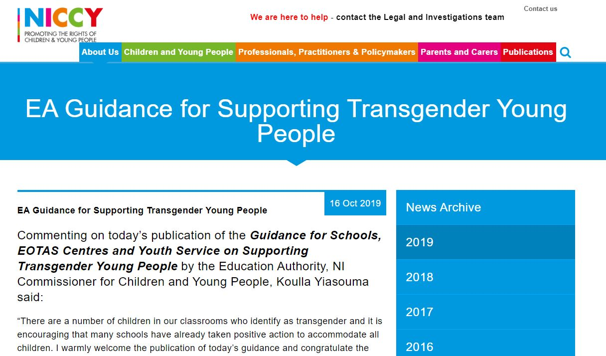 Image of EA Guidance for Supporting Transgender Young People