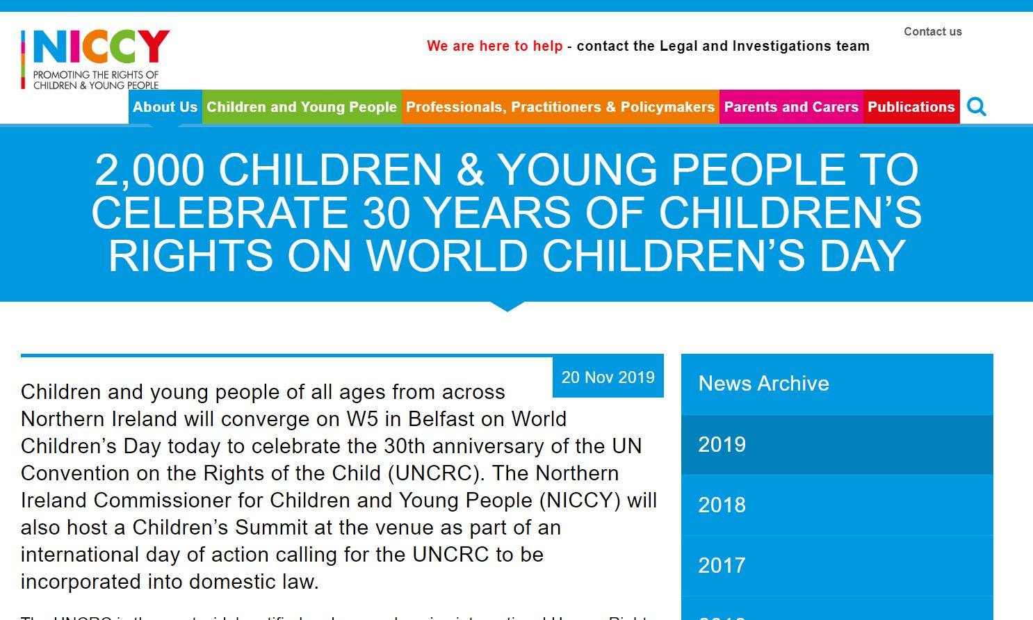 Image of 2,000 children & young people celebrate 30 years of children's rights on World Children's Day