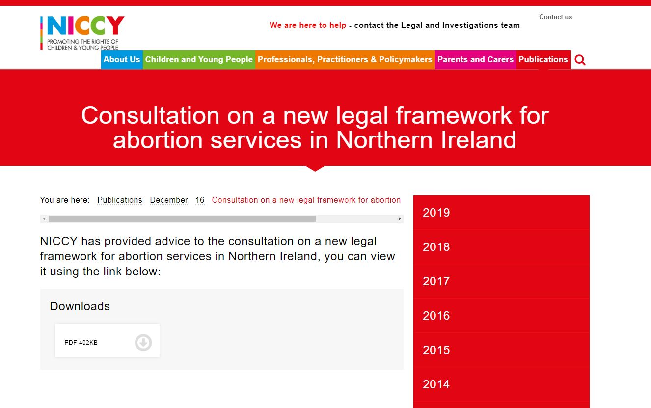 Image of Consultation on a new legal framework for abortion services in Northern Ireland