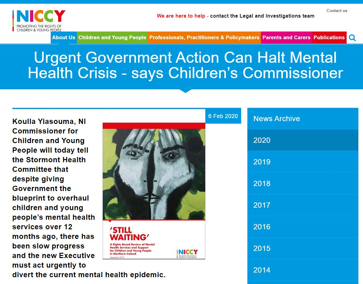 Image of Urgent Government Action Can Halt Mental Health Crisis - says Children's Commissioner