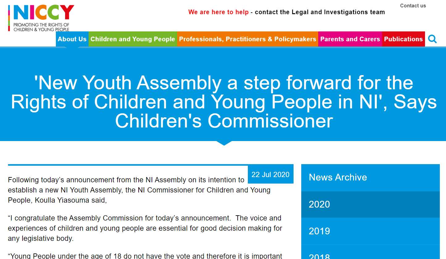 Image of 'New Youth Assembly a step forward for the Rights of Children and Young People in NI', Says Children's Commissioner