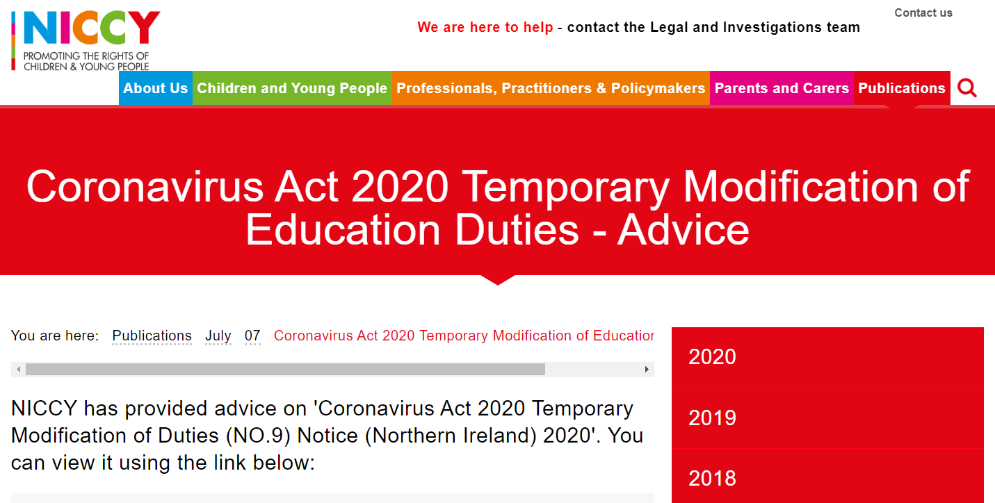Image of Coronavirus Act 2020 Temporary Modification of Education Duties - Advice