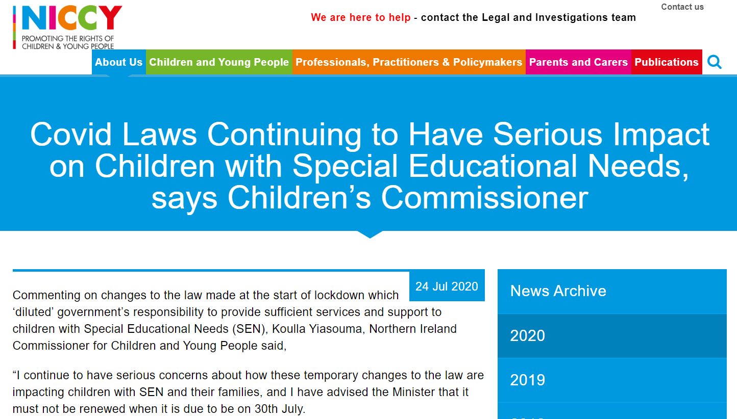 Image of Covid Laws Continuing to Have Serious Impact on Children with Special Educational Needs, says Children's Commissioner