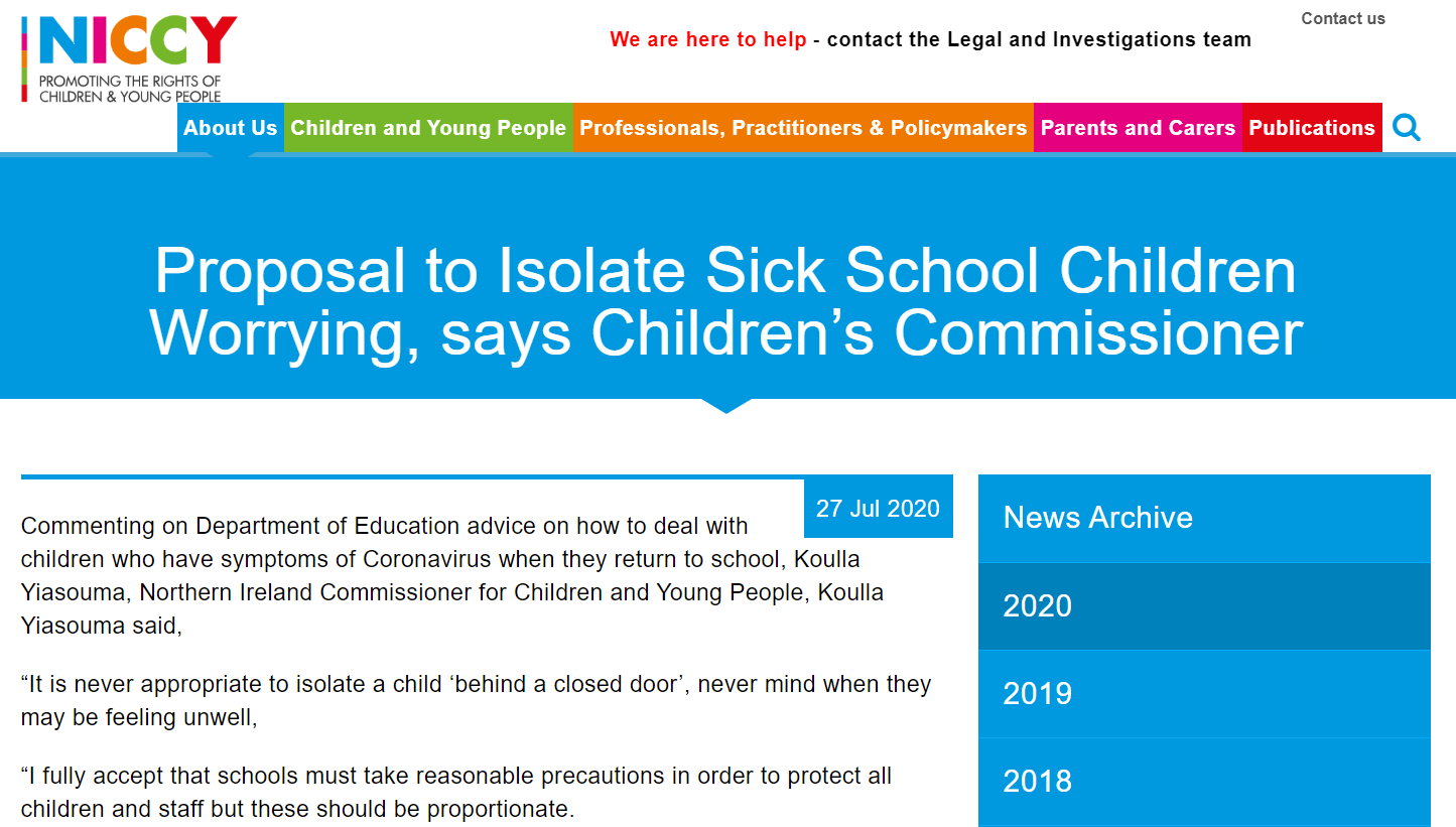 Image of Proposal to Isolate Sick School Children Worrying, says Children's Commissioner