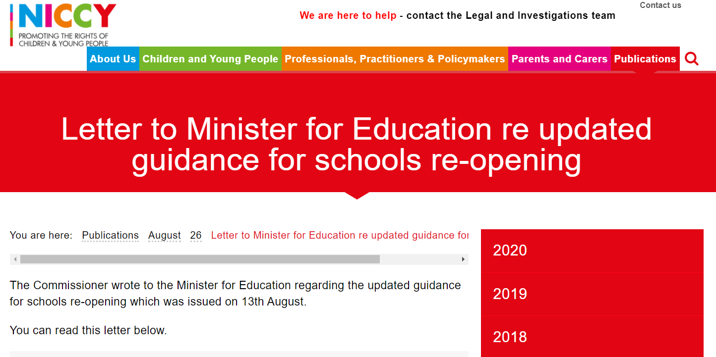Image of Letter to Minister for Education re updated guidance for schools re-opening